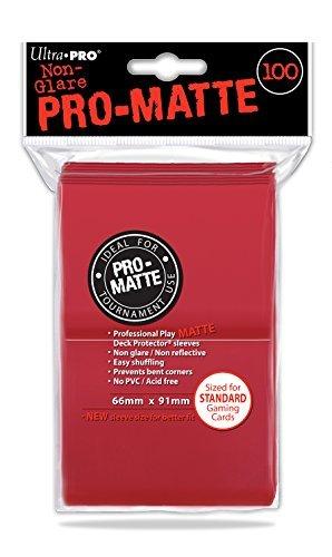 100 Ultra Pro Deck Protector Sleeves Pro-Matte Red - Rot - Standard Kartenhüllen Mat