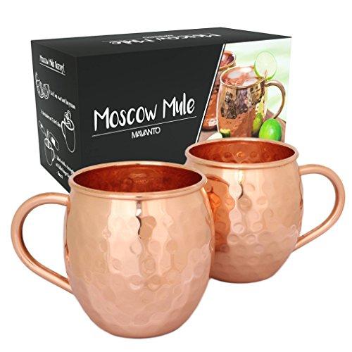Premium Moscow Mule Kupferbecher 2er Set + 11 Rezepte als eBook | echte Handarbeit | hochwertige Becher aus 100% Kupfer für erfrischend kühle Longdrinks & Cocktails | perfekt als Geschenk-Set | 450ml