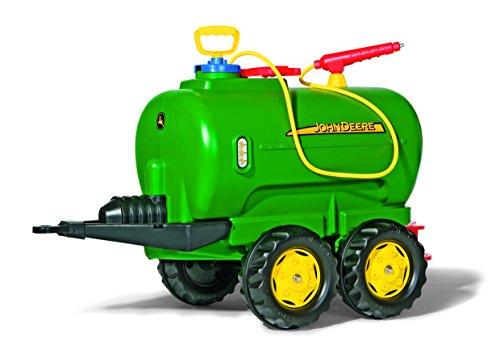 Rolly Toys 122752 Anhänger Tanker John Deere, befüllbar, 2 Achsen, inklusive Pumpe mit Spritze und Auslaufhahn (max. Befüllung 30L, Gewicht Leer 6 kg, Farbe Grün)