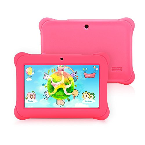 iRULU BabyPad 1 Kinder Tablet,8 GB Nand Flash, Doppel Kamera, Wi-Fi, 1GB RAM, Android 4.4 Kitkat, 7 Zoll mit Auflsung 1024x600 Multi-touch Bildschirm, Google Play aufgeladen, Rosa (Mit rosa Silikonhlle)