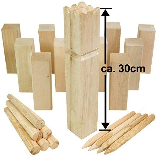 Moorland® KUBB Wikinger-Spiel Knut XXL Schweden-Schach Outdoor Spiel für bis zu 12 Personen - massives Holz inkl Tasche
