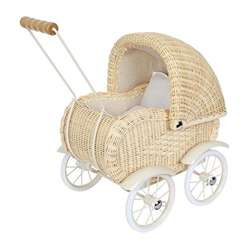 Puppenwagen im bildschönen Design, hochwertig verarbeitet und aus Korb geflochten, bewegliches Verdeck