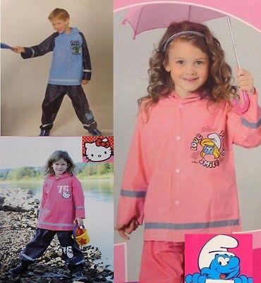 Kinder Regenanzug Jacke + Hose Star Wars Schlümpfe Hello Kitty  98 - 128  *A125