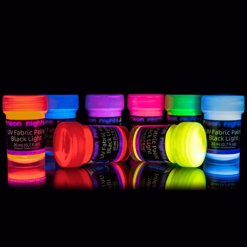 Neon Nights leuchtet im Dunkeln leuchtende Textilfarbe, Kleidung Farbstoff Airbrush Kit, Schwarzlicht leucht-Farbe UV Licht fluoreszierend, 8er Set