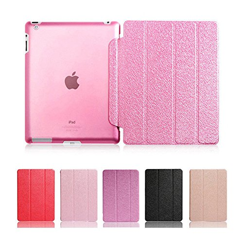 Elegant Ultra Dünn PU Leder Schutz Hülle für Apple iPad 5 / iPad Air - Yihya Smart Cover Klappbar Ledertasche mit Auto Sleep / Wake Funktion Schutzhülle Flip Case + Displayschutzfolie + Stift - Rose