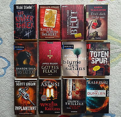 Bücherpaket 12 top Krimis Thriller: Sigler Slaughter Isau Spindler Asensi Deflo