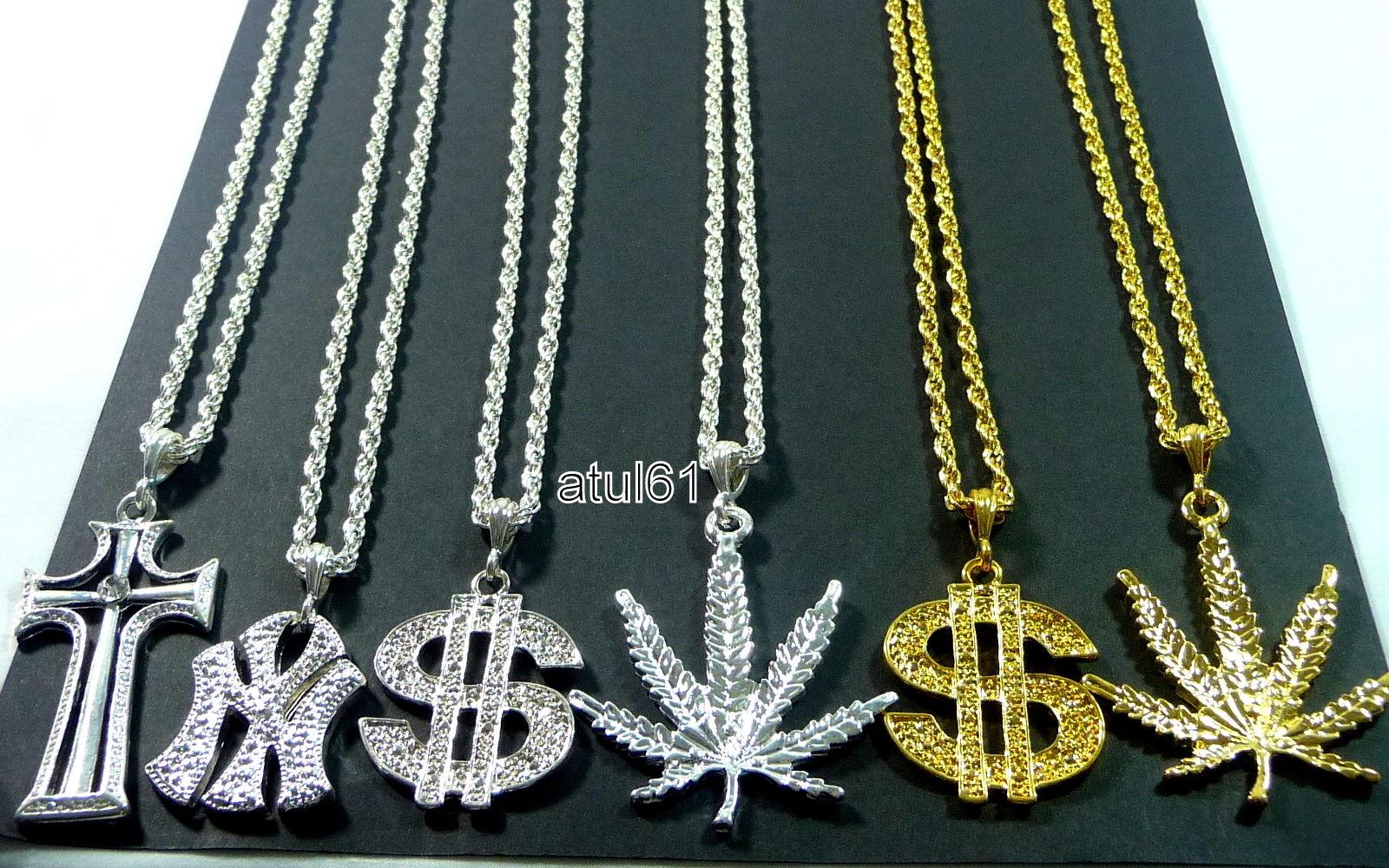 DOLLAR NY CROSS MEDALLION Necklace CHAIN HIP HOP Bling RAPPER GANGSTER Fancy NEW
