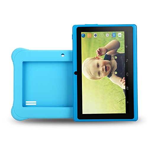 iRULU BabyPad 1 Kinder Tablet,8 GB Nand Flash, Doppel Kamera, Wi-Fi, 1GB RAM, Android 4.4 Kitkat, 7 Zoll mit Auflsung 1024x600 Multi-touch Bildschirm, Google Play aufgeladen, blau, mit blauer Silikonhlle