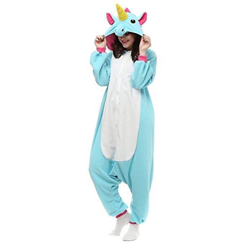 Unicsex Süß Einhorn Overall Pyjama Kostüme Schlafanzug Für Kinder / Erwachsene (M, Blau)