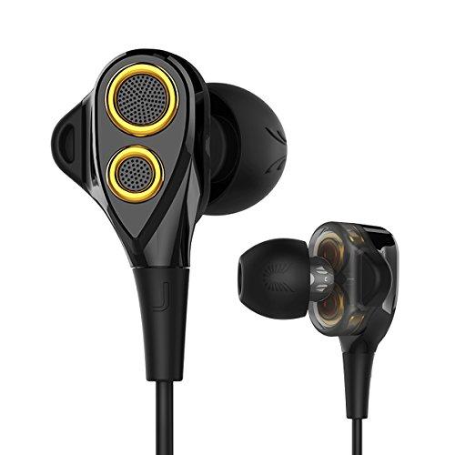 Uiisii T8 in-Ear-Kopfhörer in-Ear Ohrhörer mit Dual Dynamic Treiber Mikrofon Lautstärkeregler Super Tief Bass und Noise Reduction für Alle Geräte mit 3,5 mm Stecker