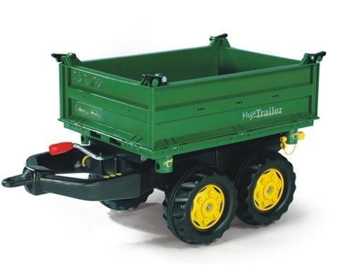 Rolly Toys 122004 Anhänger Mega Trailer, in 3 Richtungen Kippbar, mit Gewindekurbel, mit Heckkupplung (für Kinder ab 3 Jahren geeignet, zwei Achsen, Farbe Grün, Radkappen Farbe Gelb)
