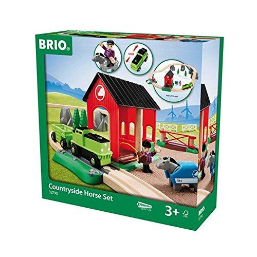 BRIO 33790 - Pferde Bahn Spiel Set, Bauernhof Tiere
