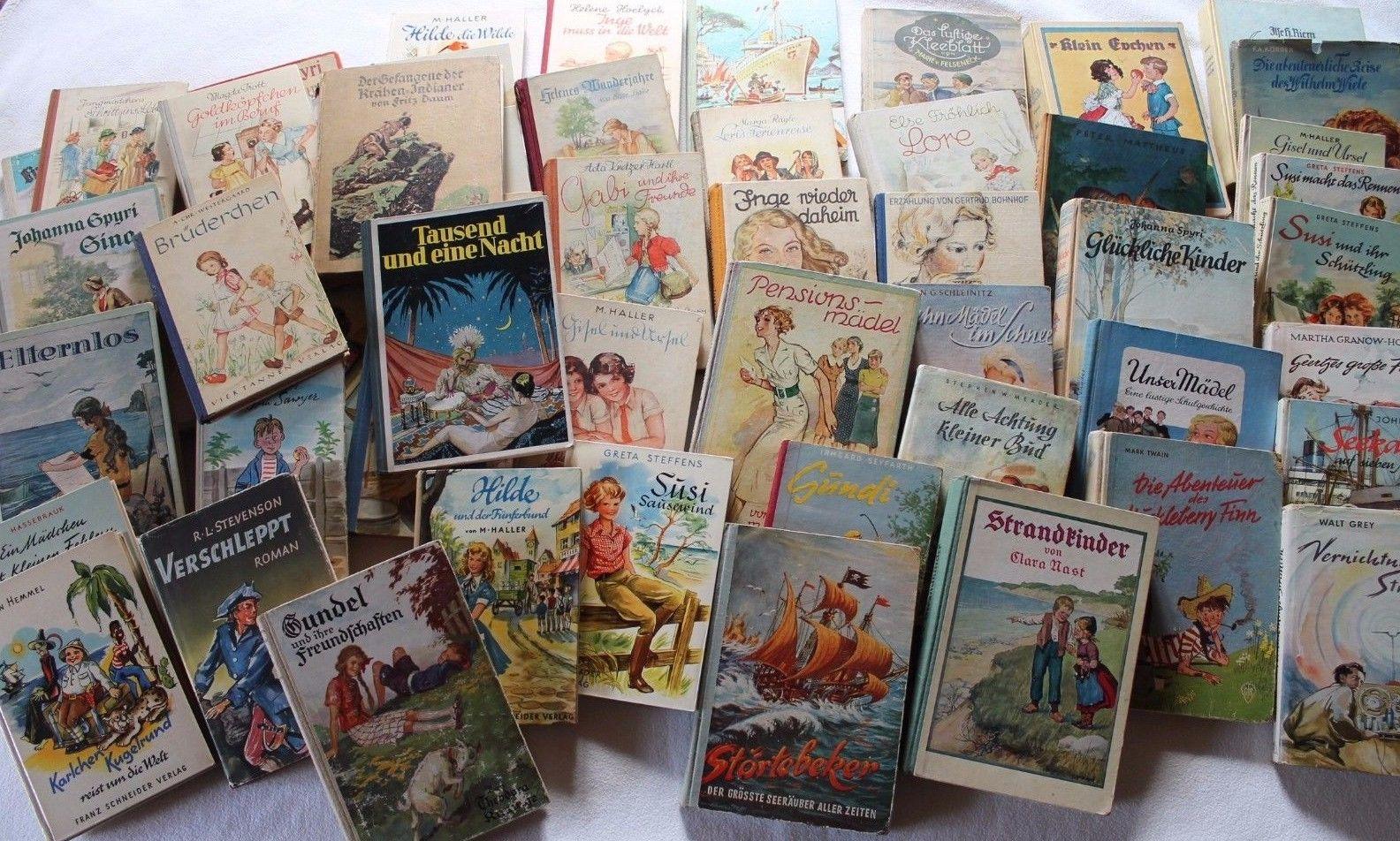 56 alte Kinderbücher, Twain, Spyri, Trott, Grey, Daum, Steffens, Hassenbrauk,