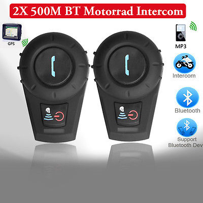 2X 500M BT Motorrad Sturzhelm Bluetooth Intercom Gegensprechanlage Headset GPS