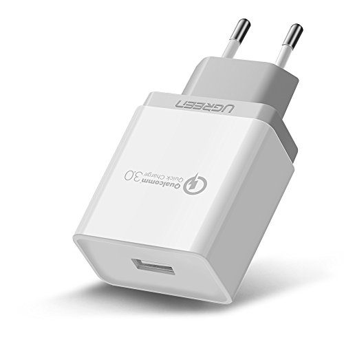 UGREEN USB Schnellladegerät 18W Quick Charge 3.0 USB Wand Ladegerät für Galaxy S8/ S7 / S6 / Edge / Plus Note 5 / 4, LG G4, Huawei mate 8 /mate 9/ P9 LITE / P9 / P10, HTC One A9 / M9, Nexus 6, iPhone 7 6 5, iPad und weitere Weiß