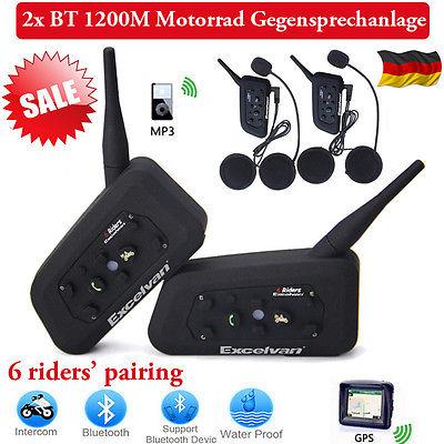 2x Motorrad Bluetooth Gegensprechanlage 1200m Sprechanlage Helm Intercom Headset