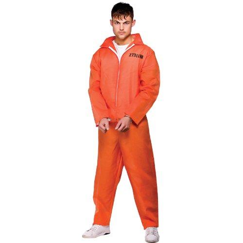 Orange Convict Prisoner Mens Fancy Dress Suits Costume