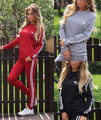Damen Streifen Jogginganzug Sportanzug Trainings Hose Anzug Fitness Sport Yoga