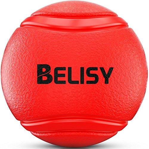 Hundeball von BELISY für besonders hohen Spielspaß – Hundespielzeug aus Naturgummi – robustes Kau-Spielzeug – Hundespielball für große & kleine Hunde – auch für Welpen geeignet - Rot - 7cm