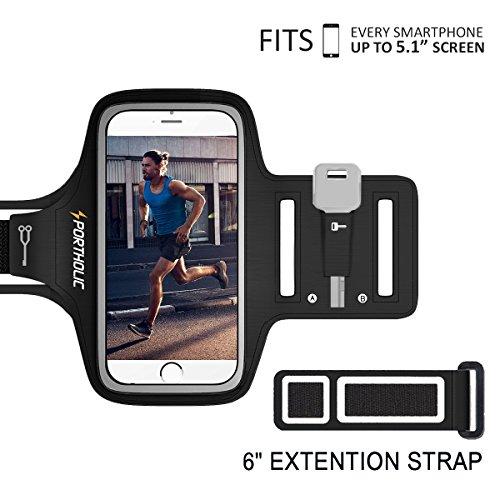 PORTHILIC Wasserfestes Sport-Armband iPhone,Android–LEBENSLANGE GEWÄHRLEISTUNG – Mit Schlüsselhalter, Kabelfach, Kartenhalter für iPhone 7/6/6S,Galaxy S7/S6/S5,iPhone 5/5S/SE bis 5.1 Inch (Schwarz+)
