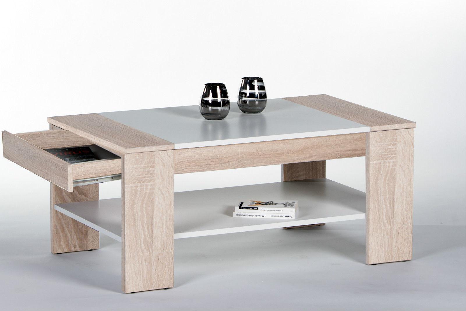 Couchtisch Finley Plus, Wohnzimmertisch, Stubentisch, Tisch, Sonoma Weiß, 100x58