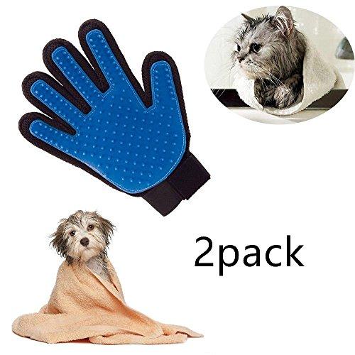 Locisne 2Packs Pet Hund Katze Reinigung Bad Pinsel Handschuh Silikon True Touch für sanfte effiziente Massage Pflege Groomer Shedding Haarentferner Clean Handschuh, rechte Hand (2 * rechte Hand, blau)
