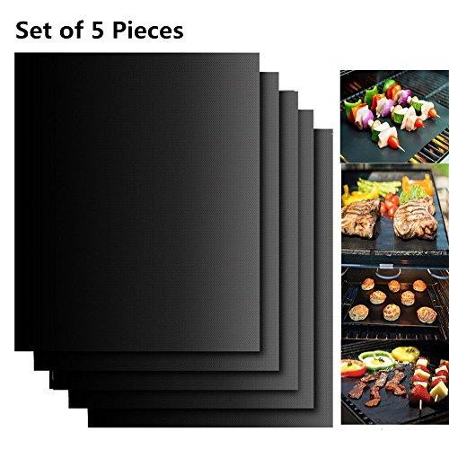 Extsud® BBQ Grillmatten, 5er Set BBQ Antihaft Grill-und Backmatte wiederverwendbar PFOA-frei – Toll über Kohle, Gas und Weber Style Grills – Perfekt für Fleisch, Fisch und Gemüse 40x33 cm (Schwarz)