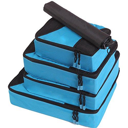 Fubevod Packtaschen 4 PCS Kofferorganizer Packing Cubes Set für Weekender Camping Tasche Blau