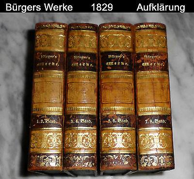 Bürger Werke 1829 Aufklärung Sturm und Drang 8 Bände Halbleder Biedermeier