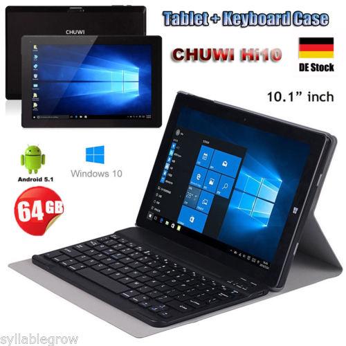 4GB/64GB 10,1'' CHUWI Hi10 Tablet PC Win10+Android5.1 2x CAM 1920X1200+ Keyboard