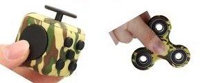 Be Squared FidgetPro Angstwürfel und Tri Spinner Combo – Sensorisches Spielzeug für Erwachsene und Kinder (Grün-Muster)