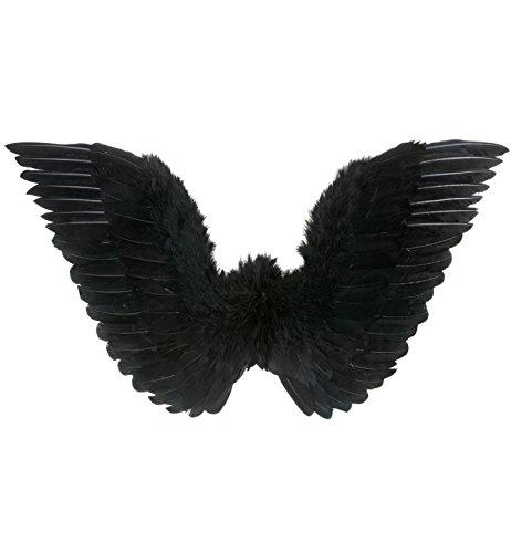 Widmann 8671N - Halloween - Flügel mit Federn, circa 86 x 31 cm, schwarz