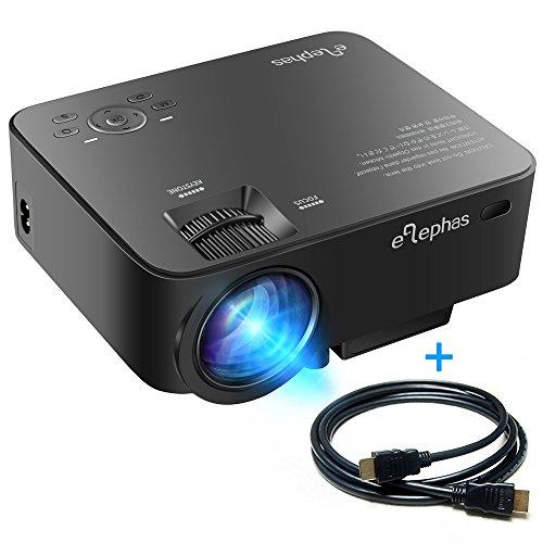 ELEPHAS 1500 Lumens LED Beamer Projektor Mini Tragbarer Multimedia LCD Projektor für Heimkino Unterhaltung Spiele Unterstützung 1080P HDMI AV VGA USB Audio iPhone Smartphone Maximum 150