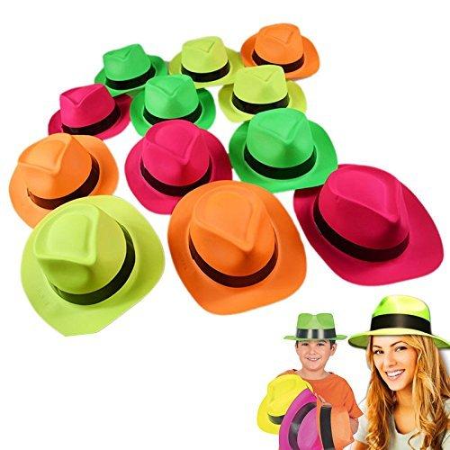 German Trendseller® - 12 x Neon Party - Hüte ? -NEU- ? Farb - Mix ? Gangster ? Karneval ? Party Knaller ? 12 Stück
