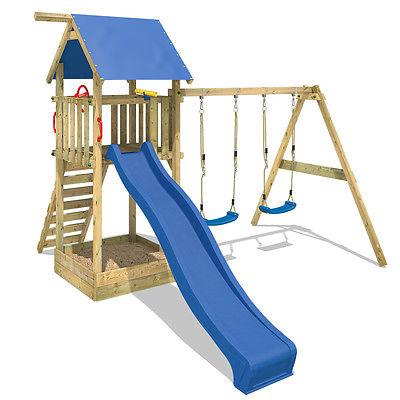 WICKEY Smart Empire Spielturm Kletterturm mit Doppelschaukel Rutsche Sandkasten