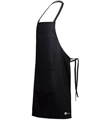 HEYNNA Premium Kochschürze / Küchenschürze 100% Baumwolle schwarz belastbar & einfach zu reinigen - perfekt auch als Grillschürze (schwarz)