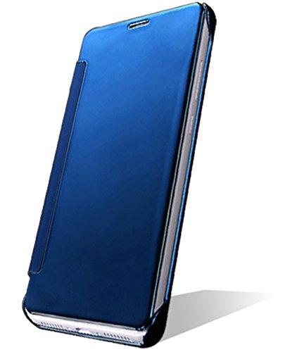 5,9-Zoll Huawei Mate 9(2016) Hülle Leder Original [Blau] View Vorne und Hinten Mirror ISENPENK Muster Huawei Mate 9 Case Tasche HandyHülle Leder SchutzHülle Leder