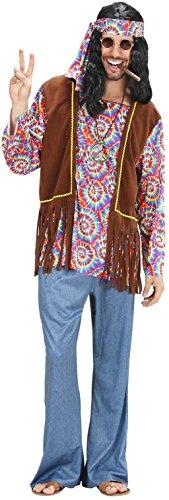 Widmann 75402 - Erwachsenenkostüm Psychedelic Hippie Mann, Hemd mit Weste, Hose, Stirnband und Kette, Größe M