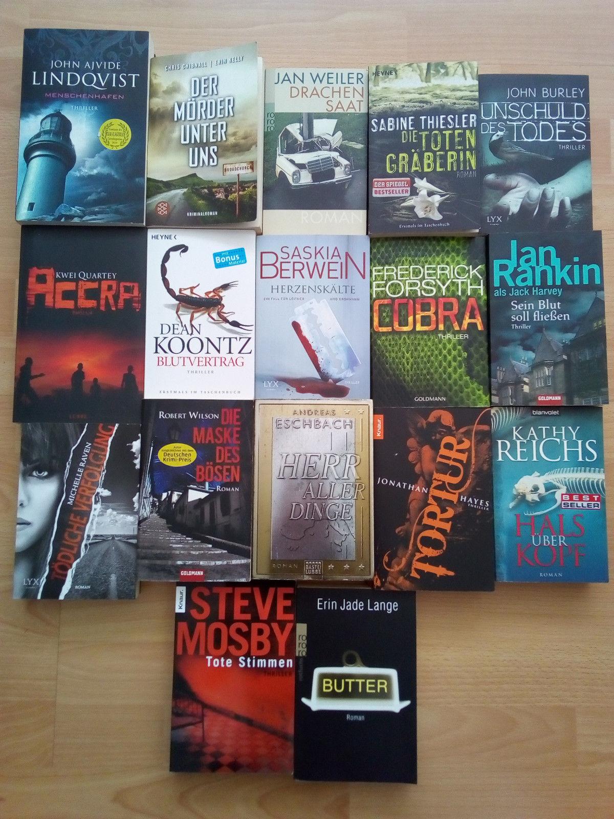 Bücherpaket, Thriller, Romane, Mängelexemplare, 17 Bücher