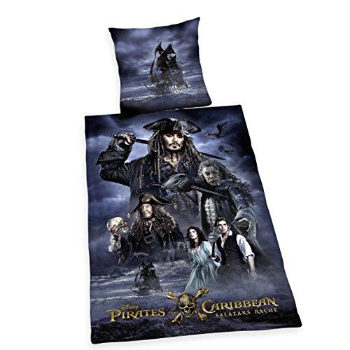 Herding 4482401050 Disney`s Pirates of the Caribbean- Salazar`s Rache Bettwäsche-Set, Baumwolle, schwarz/blau, 135 x 200 cm