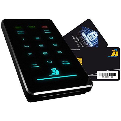 Digittrade HS256S3 6,35 cm (2,5 Zoll) Externe Festplatte mit AES Hardware-Verschlüsselung, Smartcard und PIN, 1000 GB schwarz
