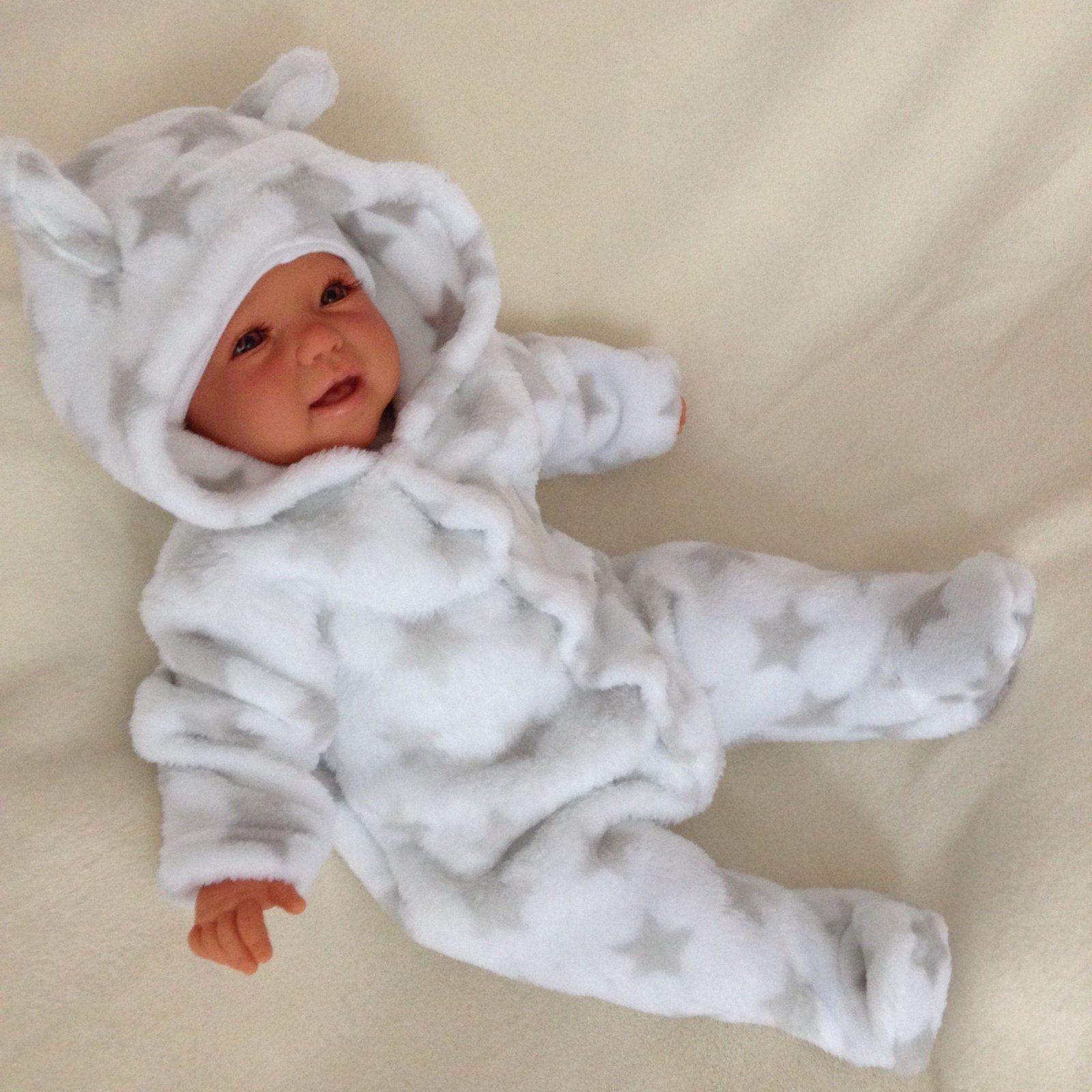 NEU Baby Mädchen Jungen Strampler Kapuzen-Strampler Overall Sterne 50 56 62 68