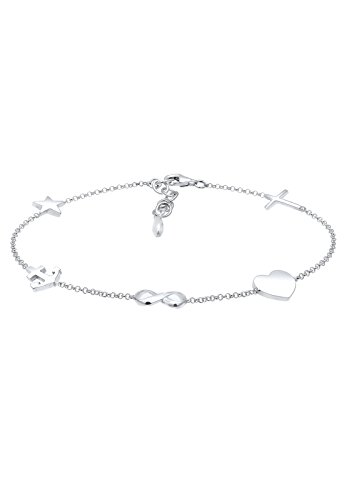 Elli Damen-Armband Anker Sterne Herz Infinity Kreuz 925 Silber 16 cm - 0201951617_16