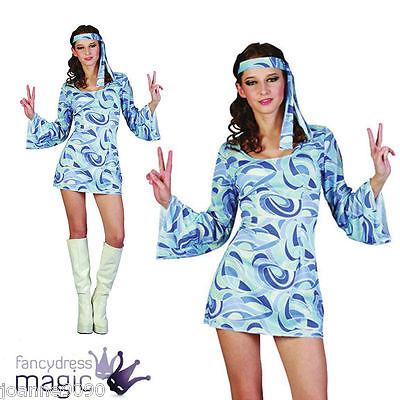 Retro Ladies Womens 60s 70s Hippie Hippy Flower Power Fancy Dress Costume Outfit