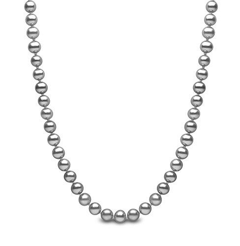 Kimura Perlen Silber 7,5mm graue 46cm lange Süßwasser-Zuchtperlen Halskette in AA Qualität