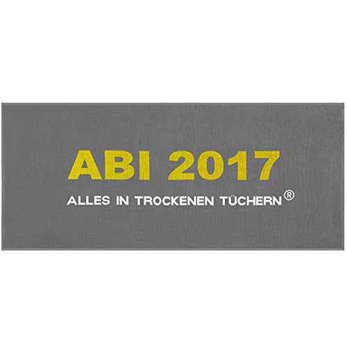 Egeria Handtuch Abi 2017 - Alles in trockenen Tüchern, 75x180cm in 3 verschiedenen Farben (Grau)