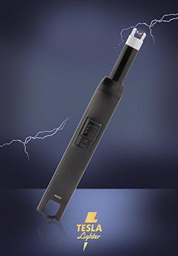 Tesla-Lighter T07 Lichtbogen Feuerzeug USB-Elektro-Feuerzeug Grillfeuerzeug Stab-Feuerzeug BBQ elektronisch wiederaufladbar - kein Gas oder Benzin - Schwarz mit Ladekabel in edler Geschenkverpackung