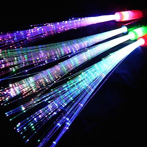 Leuchtwedel multicolor 12 Stk. - Leuchtstab mit Glasfaserfäden - Party, Disko, Konzert