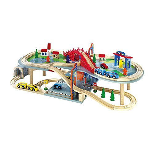 """Small Foot by Legler Eisenbahn mehrstöckig """"Malte"""" aus Holz, riesengroßer Spielspaß auf zwei Etagen, 70-teilig mit reichhaltigem Zubehör und 2 Zügen, kombinierbar mit anderen Bahnen"""