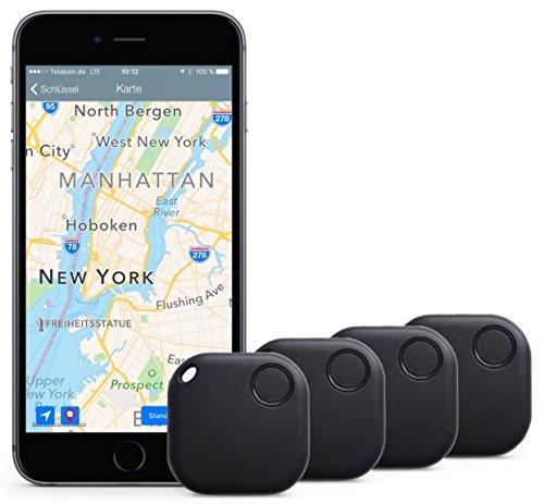 Schlüssel & Handy sofort finden: Mit dem Original iTrack der Marke Qwer® sparen Sie kostbare Zeit und schonen Ihre Nerven! – (Schlüsselfinder & Smartphone-Finder per APP für Android und iOS) – Bluetooth Key Finder/Ortungsgerät – (4-er Pack schwarz) – Idea